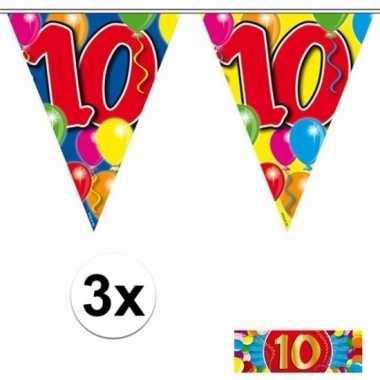 10 jaar vlaggenlijnen 3x met gratis sticker