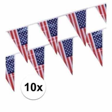 10x amerikaanse usa punt vlaggetjes lijnen