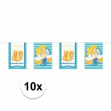 10x beierse/bayern print rechthoekige vlaggenlijn/slinger 10 meter fe
