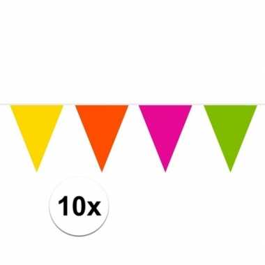 10x brandvertragende slingers gekleurd 10 meter
