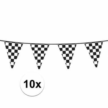 10x finish slinger met driehoek vlaggetjes 6 meter