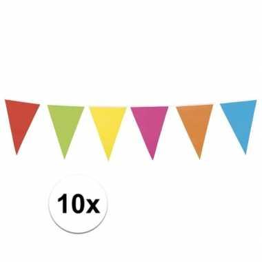 10x gekleurde vlaggenlijn 10 meter