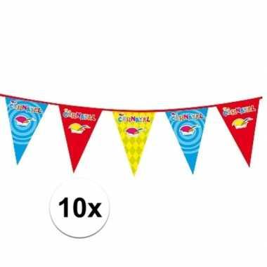 10x plastic carnaval vlaggenlijnen