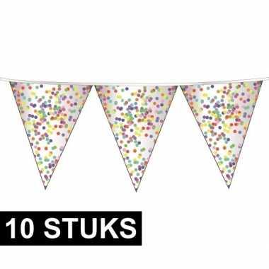 10x plastic confetti thema feestje vlaggenlijnen 23 cm