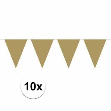 10x stuks gouden vlaggenlijnen groot 6 meter