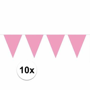 10x vlaggenlijnen baby roze kleurig 10 m