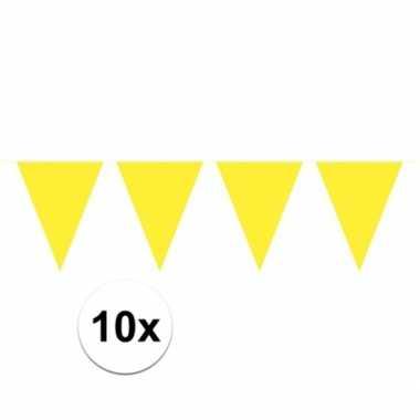 10x vlaggenlijnen geel kleurig 10 m