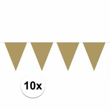 10x vlaggenlijnen goud kleurig 10 m