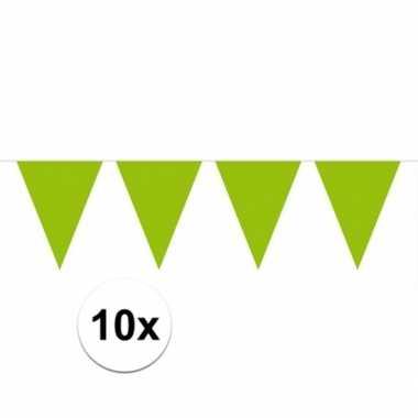 10x vlaggenlijnen groen kleurig 10 m