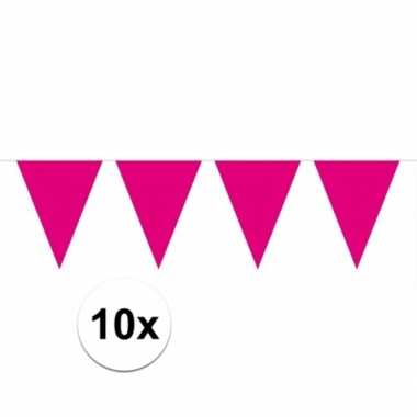 10x vlaggenlijnen magenta roze kleurig 10 m