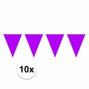 10x vlaggenlijnen paars kleurig 10 m