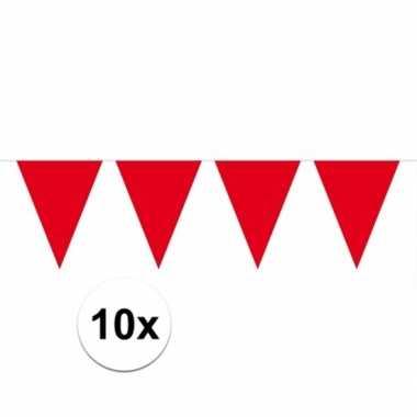 10x vlaggenlijnen rood kleurig 10 m