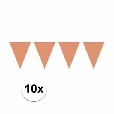 10x vlaggenlijnen rose goudkleurig 10 m
