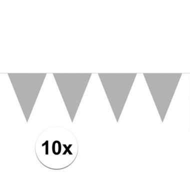 10x vlaggenlijnen zilver kleurig 10 m