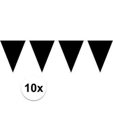 10x vlaggenlijnen zwart kleurig 10 m
