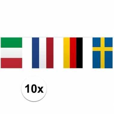 10x vlaggetjeslijn europa 10 meter