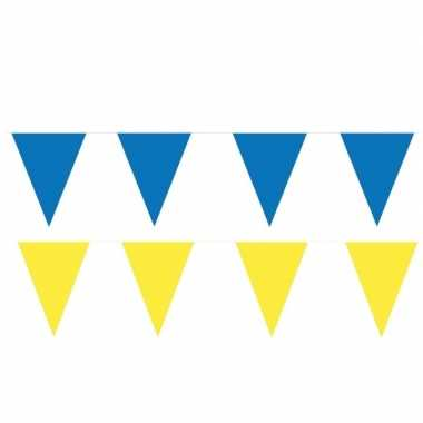 120 meter gele/blauwe buitenvlaggetjes