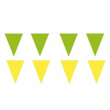 120 meter gele/groene buitenvlaggetjes