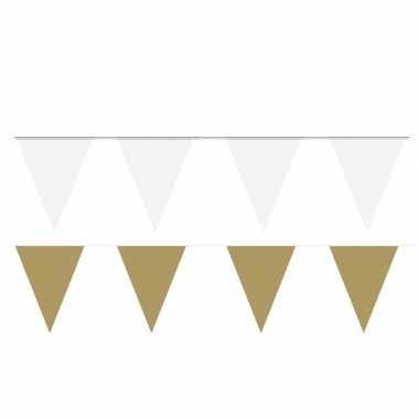 120 meter witte/gouden buitenvlaggetjes
