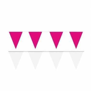 120 meter witte/roze buitenvlaggetjes