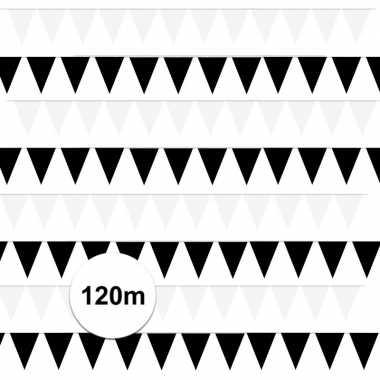 120 meter zwart/witte buitenvlaggetjes