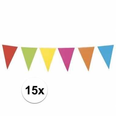 15x mega vlaggenlijn gekleurd xl 10 meter