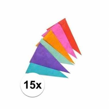 15x papieren vlaggenlijn gekleurd 10 m
