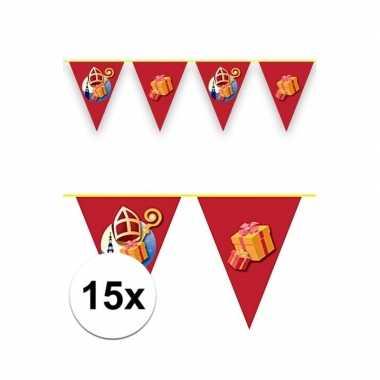 15x sinterklaas decoratie vlaggen slinger rood 6 meter
