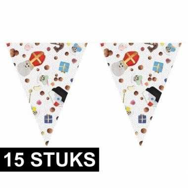 15x sinterklaas versiering vlaggenlijnen 10 m snoepgoed print