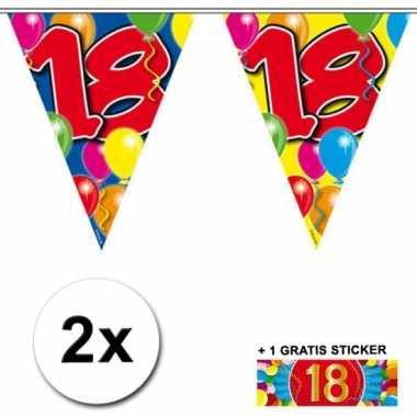 18 jaar vlaggenlijnen 2x met gratis sticker