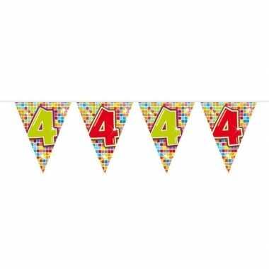 1x mini vlaggenlijn / slinger verjaardag versiering 4 jaar