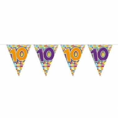 1x mini vlaggetjeslijn slingers verjaardag versiering 10 jaar