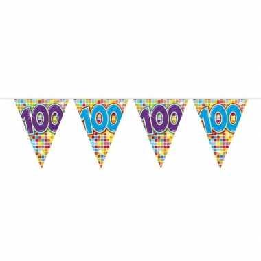 1x mini vlaggetjeslijn slingers verjaardag versiering 100 jaar