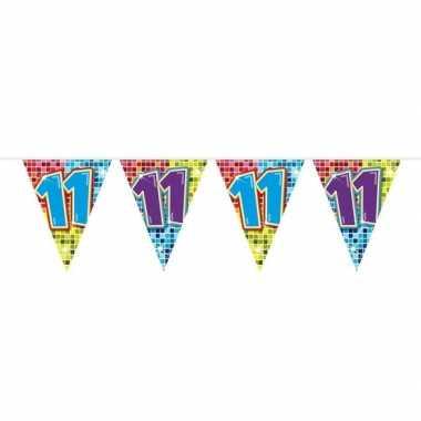 1x mini vlaggetjeslijn slingers verjaardag versiering 11 jaar