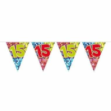 1x mini vlaggetjeslijn slingers verjaardag versiering 15 jaar