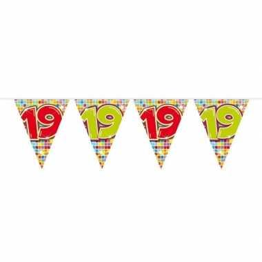 1x mini vlaggetjeslijn slingers verjaardag versiering 19 jaar