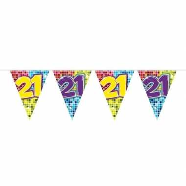 1x mini vlaggetjeslijn slingers verjaardag versiering 21 jaar