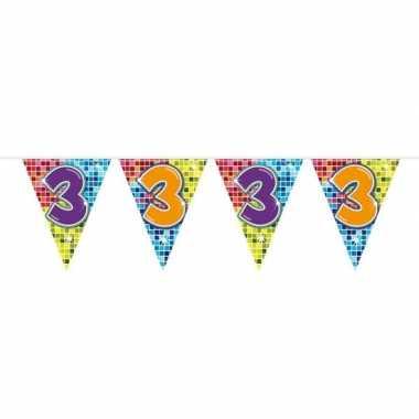 1x mini vlaggetjeslijn slingers verjaardag versiering 3 jaar