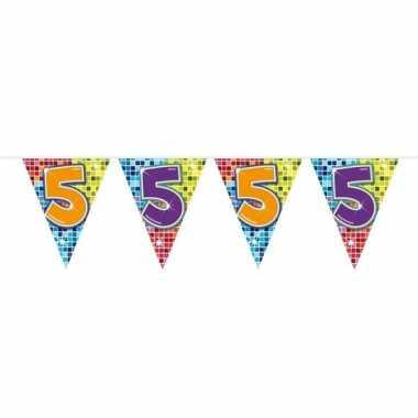 1x mini vlaggetjeslijn slingers verjaardag versiering 5 jaar