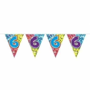 1x mini vlaggetjeslijn slingers verjaardag versiering 6 jaar
