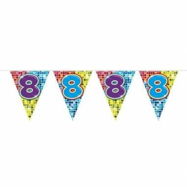1x mini vlaggetjeslijn slingers verjaardag versiering 8 jaar