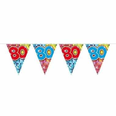 1x mini vlaggetjeslijn slingers verjaardag versiering 80 jaar