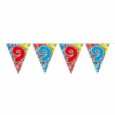 1x mini vlaggetjeslijn slingers verjaardag versiering 9 jaar