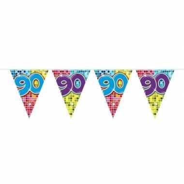 1x mini vlaggetjeslijn slingers verjaardag versiering 90 jaar