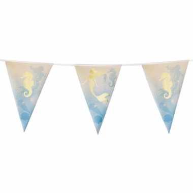 1x zeemeermin/oceaan themafeest folie vlaggenlijnen goud 4 meter