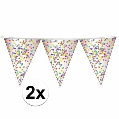 2 x confetti vlaggenlijn slingers 10 meter