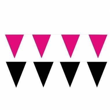 200 meter zwart/roze buitenvlaggetjes