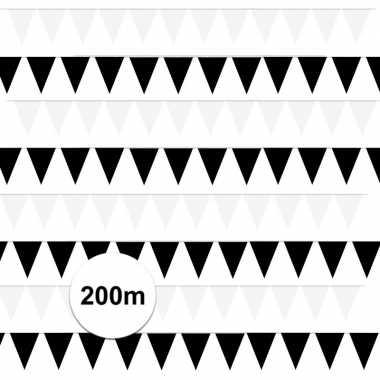 200 meter zwart/witte buitenvlaggetjes