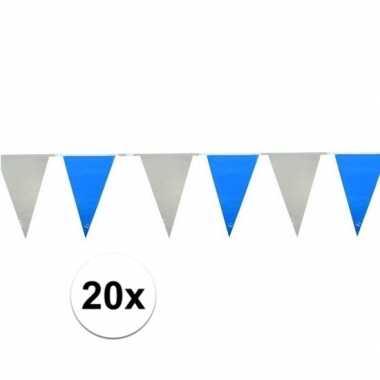 20x lichtblauw witte vlaggenlijnen 10 meter
