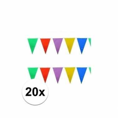 20x stuks gekleurde vlaggetjes 10 meter